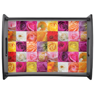 Large Serving Tray, Black - Flower Collage, II Serving Tray