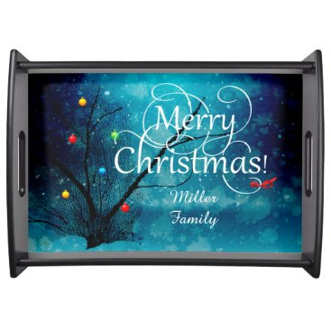 Beach Themed Large Serving Tray, Black - Merry Christmas Serving Tray