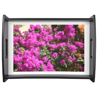 Large Serving Tray Black with Bougainvillea Design