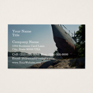 Large ship on shore and blue sky business card