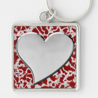 Large Silver Heart Keychain