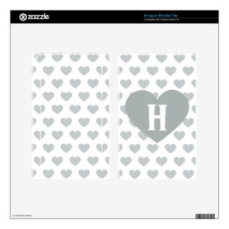 Large Silver Heart - Monogram Kindle Fire Decals