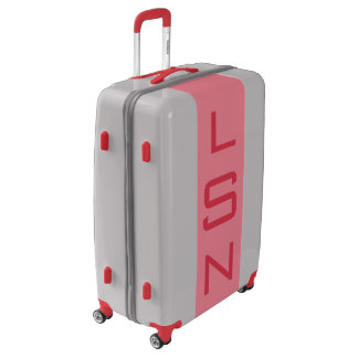 LARGE Silver + Light Red Monogrammed Luggage