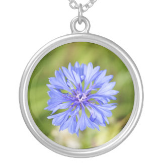 Large Silver Plated Round Blue Flower Necklace