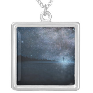 Large Silver Plated Square Necklace
