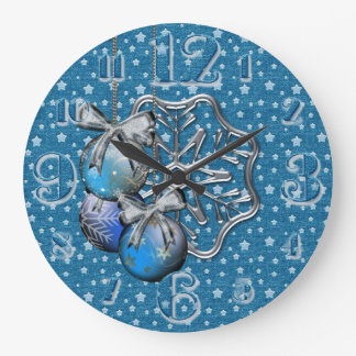 large Silver Stars and Baubles Wall Clock