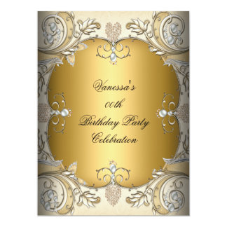 Large Size Birthday Party Sepia Coffee Gold Personalized Invitation
