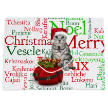 Large Size - Cat and Mouse Christmas Large Gift Bag
