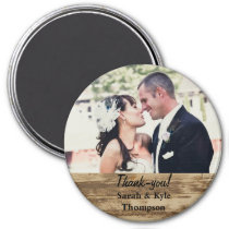 Large Size Rustic Wedding Photo Thank you Magnet