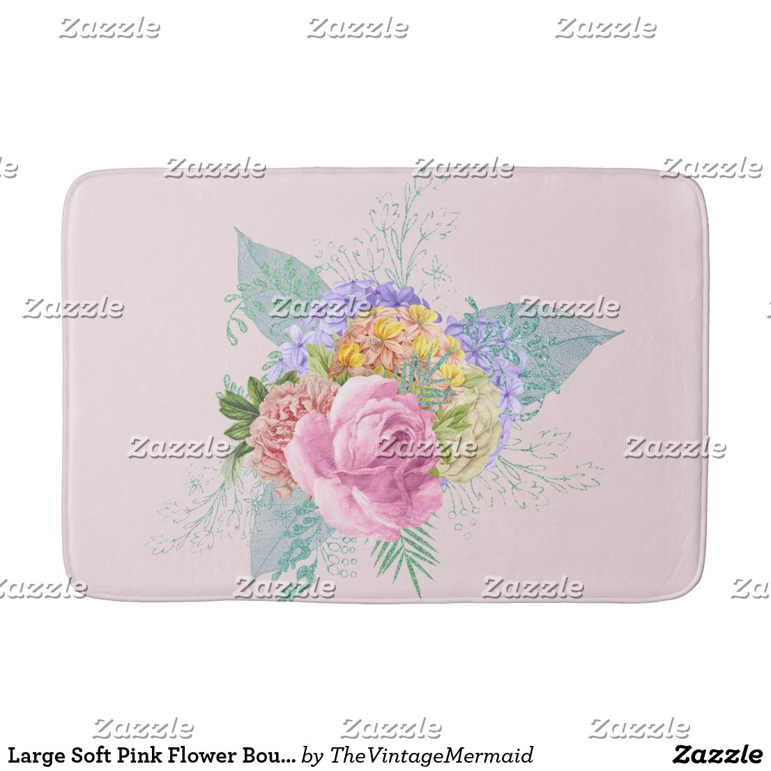 Large Soft Pink Flower Bouquet Bath Mat