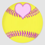 Large Softball Stickers with Pink Heart, Threads