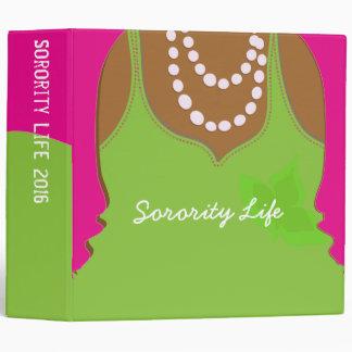 Large Sorority Pink and Green Binder