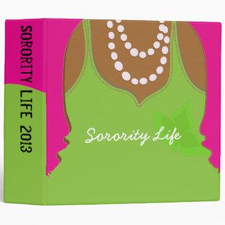 "Large Sorority Pink and Green Binder 2"""