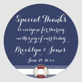Large Special Thanks Nautical Wedding Stickers