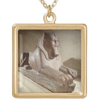 Large Sphinx, from Tanis (granite) Gold Plated Necklace
