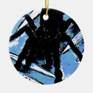 Large spider on metal surface ceramic ornament