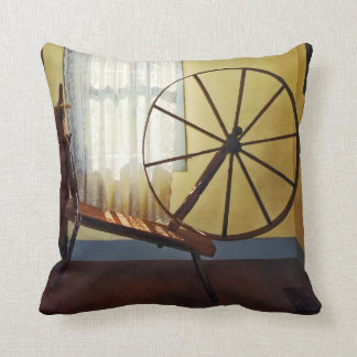 Large Spinning Wheel Near Lace Curtain Throw Pillow