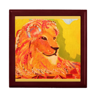 Large Square Gift Box with Bold Lion