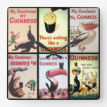 Large Square Vintage Guinness Wall Clock