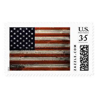 Large Stamp with American Wood Flag Print