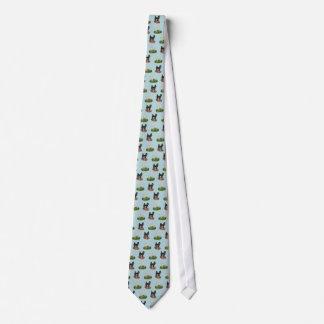 Large standard cream white black poodle tie w blue