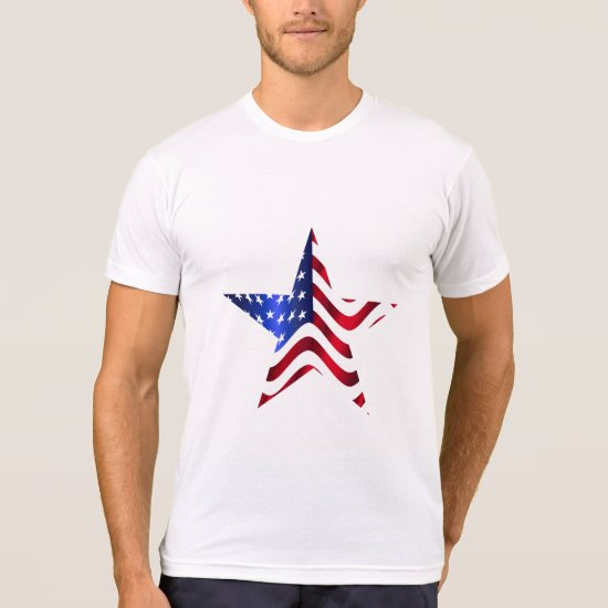 Large Star with Flag Design, 4th of July T-Shirt