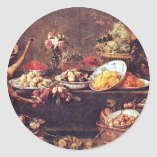 Large Still Life With A Lady And Parrot Round Sticker