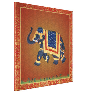 large Stretched Canvas Print red gold Elephant
