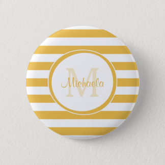 Large Stripes in Bright Yellow With Casual Name Pinback Button