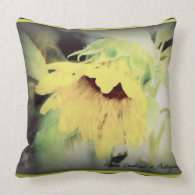 large sunflower bent with anticipation of winter throw pillow