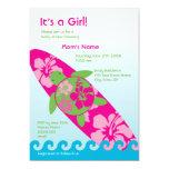 """Large Surfing Sea Turtle Invitation - Pink 5"""" X 7"""" Invitation Card"""