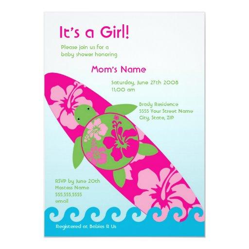 Large Surfing Sea Turtle Invitation - Pink