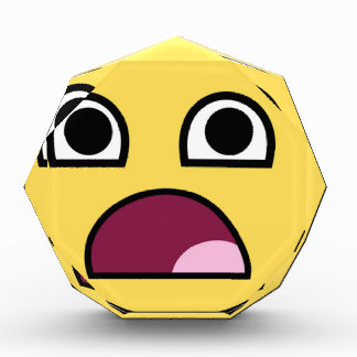 Large Surprised Smiley Face Acrylic Octagon Award