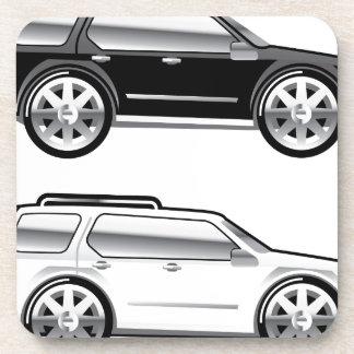 Large SUV stylized with large chrome Rims Vector Beverage Coaster