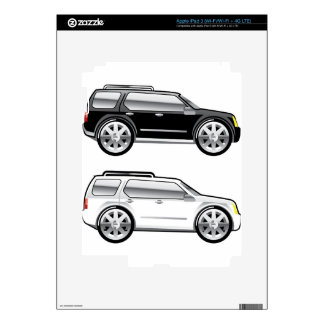 Large SUV stylized with large chrome Rims Vector Decal For iPad 3