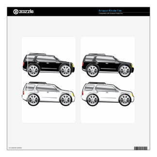 Large SUV stylized with large chrome Rims Vector Decal For Kindle Fire