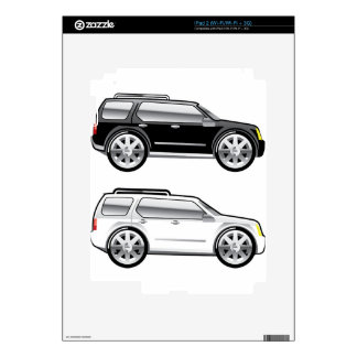 Large SUV stylized with large chrome Rims Vector Decal For The iPad 2