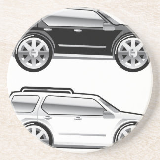 Large SUV stylized with large chrome Rims Vector Drink Coaster