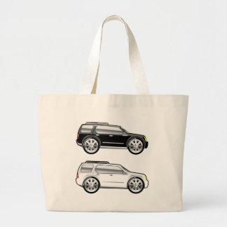 Large SUV stylized with large chrome Rims Vector Large Tote Bag