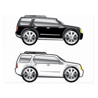 Large SUV stylized with large chrome Rims Vector Postcard