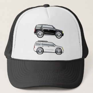 Large SUV stylized with large chrome Rims Vector Trucker Hat