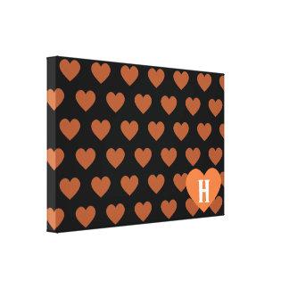 Large Tangerine Orange Heart Black Background Canvas Print