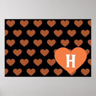 Large Tangerine Orange Heart Black Background Print