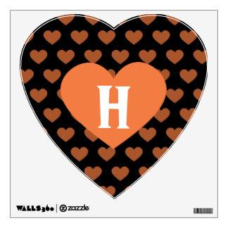Large Tangerine Orange Heart Black Background Wall Decor