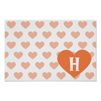 Large Tangerine Orange Heart - Monogram Posters