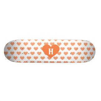 Large Tangerine Orange Heart - Monogram Skateboard