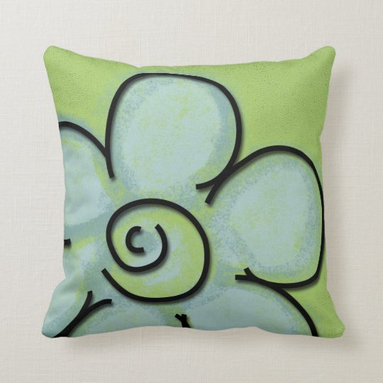 Large Flower Throw Pillow : Large Teal & Green Flower Throw Pillow Zazzle.com