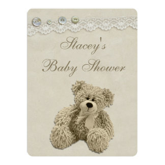 Large Teddy Bear Vintage Lace Baby Shower 6.5x8.75 Paper Invitation Card