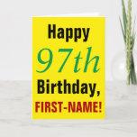 [ Thumbnail: Large Text, Bold, 97th Birthday Greeting Card ]