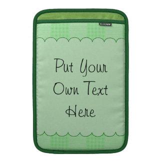 Large Textured Green Patchwork Pattern MacBook Sleeve